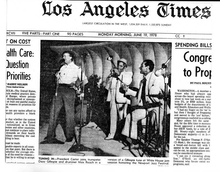 """The front page of the L.A. TIMES -- from the collection of Mark Weber -- Jimmy Carter  singing """"Salt Peanuts"""""""