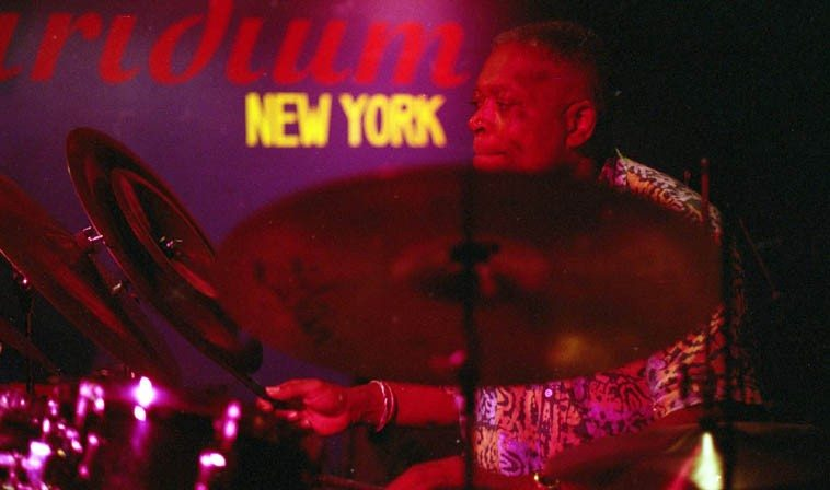 Billy Hart -- August 11, 1998 -- Iridium jazz club, NYC -- photo by Mark Weber