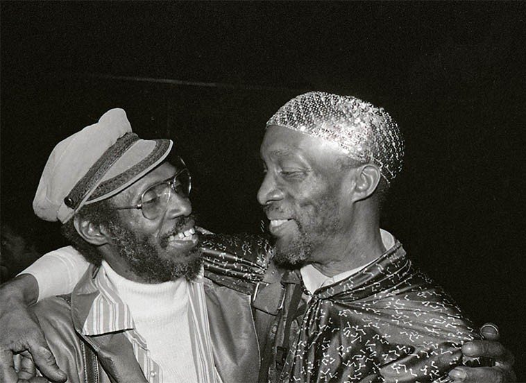 Two old school bopsters: Martin Banks and John Gilmore -- April 2, 1981 -- photo by Mark Weber -- (Martin was living in Los Angeles at the time and didn't join Sun Ra until 1988 ---- up till then he had recorded with  Lloyd Price, Ray Charles, Harold Land, various doowop, Witherspoon, Cleanhead, Dizzy, Dexter, Shepp, Booker Ervin, Freddie King, Hank Crawford, all of which was good preparation for Sun Ra music)