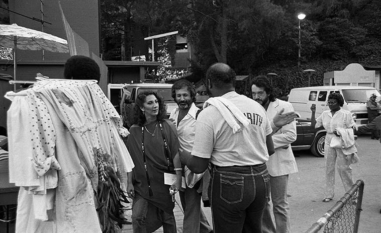 Flora Purim arriving backstage at Hollywood Bowl with Milcho Leviev and Airto (they were performing  with the Crusaders that afternoon) -- June 20, 1981 -- photo by Mark Weber