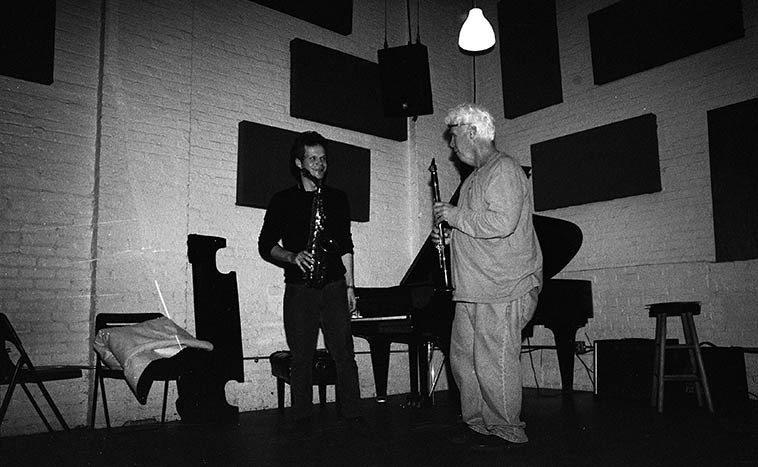 Nick Lyons, alto, and Bill Payne, clarinet ---- duet -- May 9, 2o15 -- photo by Mark Weber