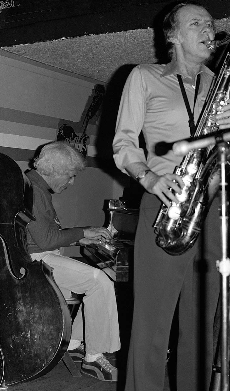 Lou Levy, one of the supreme bop pianists on the coast, coasting with the Warne Marsh Quartet ---- Donte's, North Hollywood -- photo by Mark Weber -- January 26, 1977 ---- (Art Pepper made it a quintet this night)