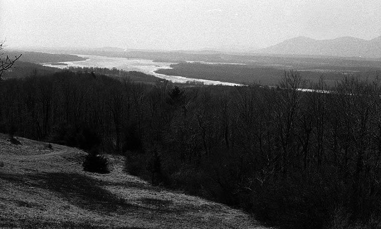View north of Hudson River from artist Frederic Church (1826-1900) house on one of our winter road trips from Cleveland to NYC circa 1987-1989 -- photo by Mark Weber ---- Church painted those fantastical landscapes of large vision and utopian
