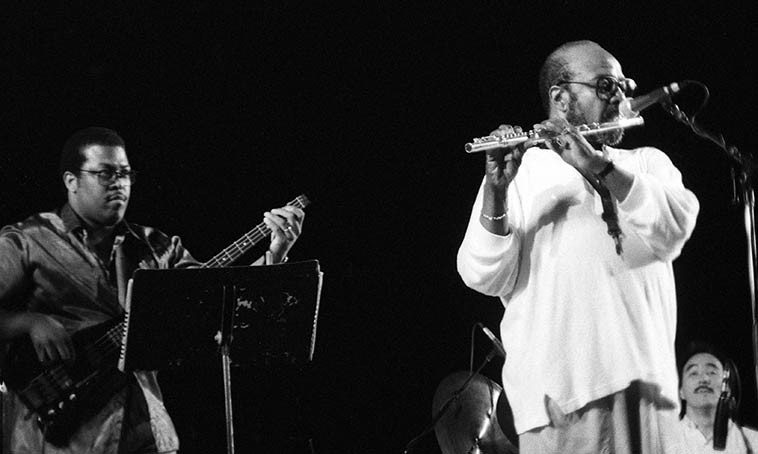 James Moody Quartet at Cain Park, Cleveland Heights, Ohio -- June 25, 1988 -- Akira Tana, drums; James Williams, piano; Ben Brown, bass -- photo by Mark Weber