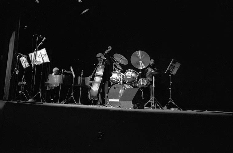 Larry Gales Trio -- February 22, 1981 -- Kinsey Auditorium, Los Angeles -- Phil Wright, piano; Sherman Ferguson, drums, Larry Gales, bass -- photo by Mark Weber