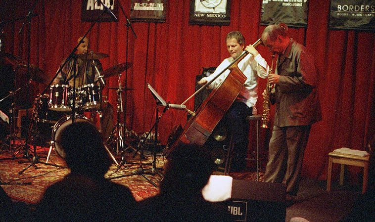 Steve Lacy Trio -- April 5, 1999 Albuquerque at old Outpost -- John Betsch, drums; JJ Avenel, bass -- photo by Mark Weber