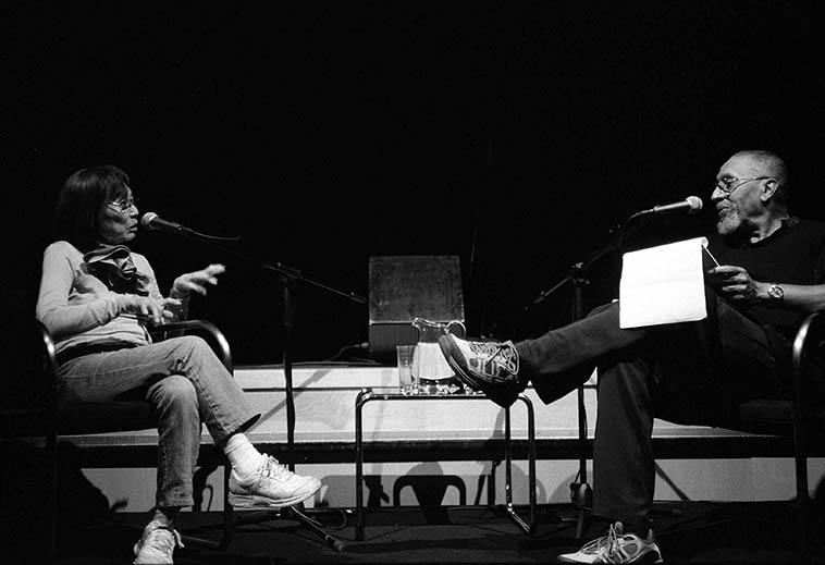 Toshiko Akiyoshi in conversation with A.B. Spellman -- afternoon of July 25, 2o10 at Lensic Theater, Santa Fe, New Mexico -- photo by Mark Weber