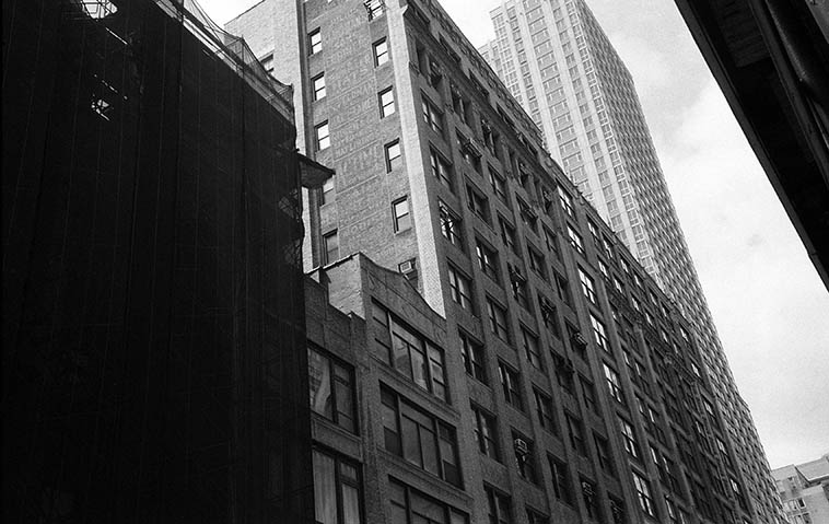 """On February 26, 1917 the Original Dixieland Jazz Band recorded the first jazz records """"Livery Stable Blues"""" and """"Dixieland Jazz Band One-Step"""" in that middle building on the 12th floor: RCA Victor Studios, 46 W. 38th Street in the Garment District just west of Fifth Avenue, Manhattan -- August 21, 2o14 -- photo by Mark Weber"""