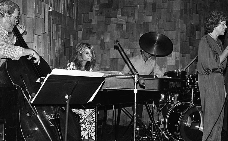 Joanne Grauer Trio w/ Pinky Winters at Two Dollar Bills, Franklin Avenue, Hollywood -- April 18, 1980 -- Al Cecchi, drums; Wolfgang Melz, bass; Joanne Grauer, electric grand piano; Pinky Winters, vocals -- photo by Mark Weber