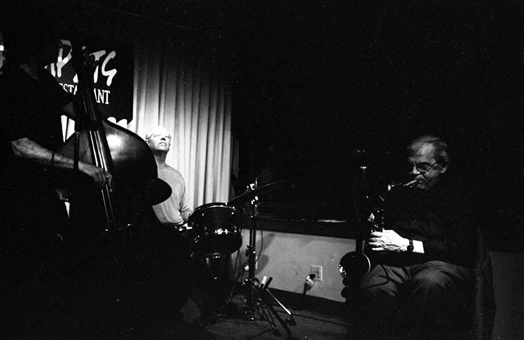 Ted Brown Quartet -- August 6, 2o11 at Trumpets jazz club, Montclair, New Jersey -- Bill Chattin, drums; Don Messina, bass; Jon Easton, piano ---- photo by Mark Weber