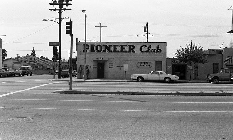 """I caught a lot of blues music in this joint on the weekends ----- Smokey Wilson's Pioneer Club at 88th & Vermont in South Central (altho, we didn't call it """"South Central"""" in those days) -- February 28, 1980 -- photo by Mark Weber ---- Most of the post-war black blues musicians in Los Angeles came from the South, most of them from Texas"""