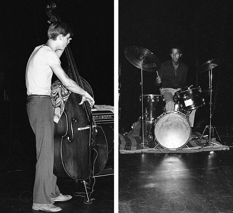 I used to love Thurman Barker's drumming, this is him and John Lindberg (bass) in trio with Billy Bang in Los Angeles -- Century City Playhouse -- September 30, 1979 ----- we'll reacquaint ourselves with this music after years away ---- photo by Mark Weber