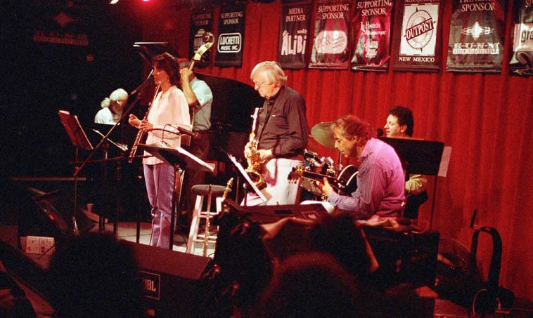 Lisa Polisar Trilogy -- May 5, 1997 @ Outpost Performance Space (old location) -- Lisa (flute); Rick Fairbanks (bass); Michael Anthony (guitar); plus guests: Jack Manno (piano); David Parlato (bass); Arlen Asher (woodwinds); Michael Candito (drums) -- photo by Mark Weber