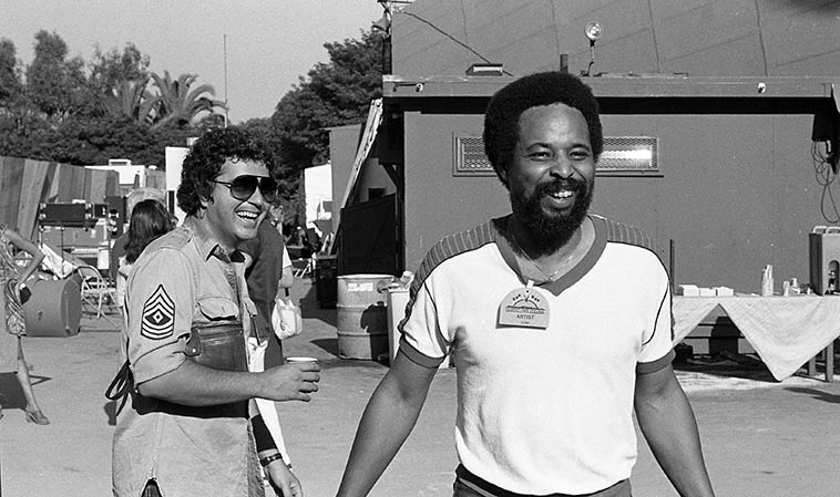 """I've always thought """"Jazz Crusaders"""" was the coolest name for a band -- That's their drummer Stix Hooper -- June 20, 1981 -- photo by Mark Weber"""
