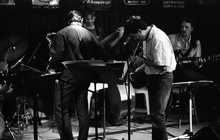 Kanoa Kaluhiwa Quintet -- Lewis Winn, guitar; Paul Gonzales, trumpet; Jon Gagan, bass; Kanoa, tenor; Cal Haines, drums; and even though this is a quintet they had guest on piano from Santa Fe the incomparable Bob Fox -- December 11, 1995 -- photo by Mark Weber