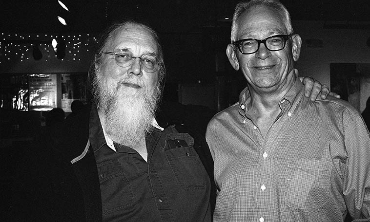 Who are these two old geezers? Well, that's Lewis Winn getting in touch with his inner Cro-Magnon and the other guy is esteemed member of Outpost Board of Directors Lynn Slade -- April 9, 2015 -- photo by Mark Weber