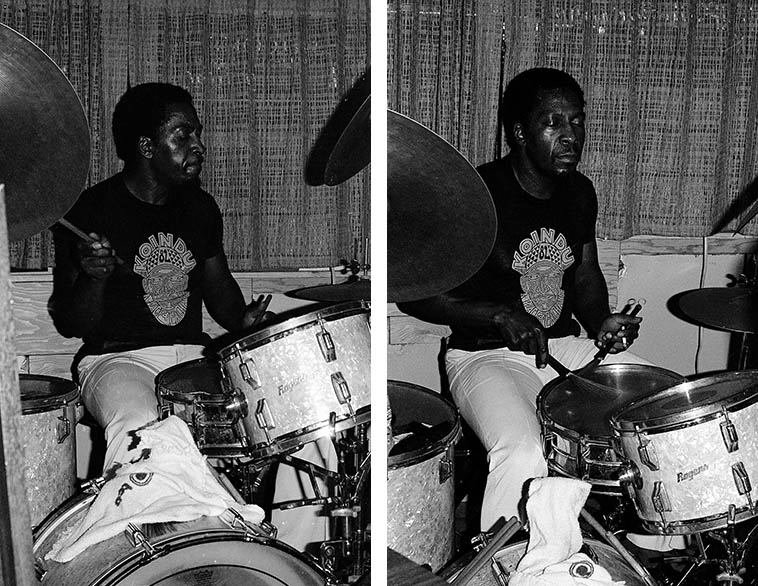 """The Legendary James Black -- Alice's Keyhole Lounge, New Orleans -- July 3, 1982 -- photo by Mark Weber -- Black was session drummer on hundreds of R&B & funk records made in New Orleans, like Eddie Bo's """"Hook and Sling"""" (check it on YouTube), Fats Domino, all that, all the while being a hardcore jazz cat making Ellis Marsalis first album MONKEY PUZZLE (1963) and a gang of Yusef Lateef albums including the immortal LIVE AT PEP'S, and the Nat Adderley record he made IN THE BAG (1962) so you know I had to find James Black (1940-1988) notwithstanding the cabbie who said I was nuts for going into that neighborhood"""