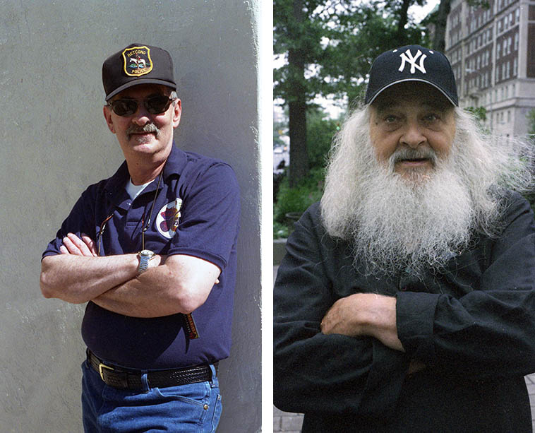 Duckbill hats must be in with clarinet players this year? Tony Scott on 113th Street & Broadway, Manhattan -- July 3, 2003 (he'd just come off the Phil Schaap WKCR radio show and I was staying across the street listening to the interview and when it ended I merely took the elevator downstairs and met him and his wife on Broadway and we went for a cup of tea) ---- I laughed at Kenny Davern when he showed up in that police cap, we were going out shooting at the Albuquerque gun range and I said to KD is that protective coloring? September 16, 2003 -- photos by Mark Weber
