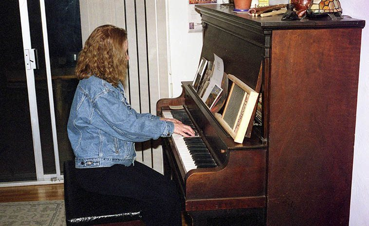 Connie Crothers playing my piano at Studio 725 Albuquerque -- March 25, 2001 -- photo by Mark Weber