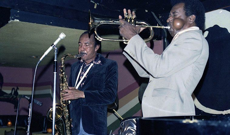 Harold Land & Blue Mitchell at Donte's -- July 10, 1977 -- photo by Mark Weber
