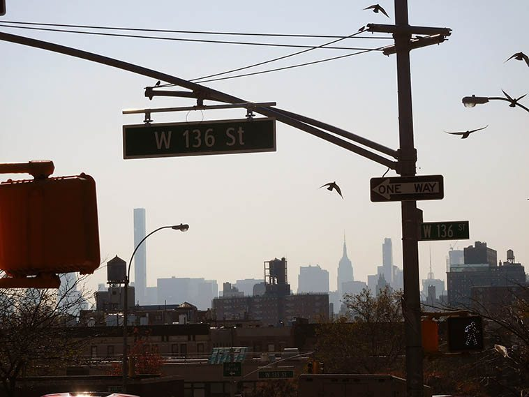 Looking south down Amsterdam Avenue to Empire State Building and the new World Trade Center -- Wednesday 11:23am on November 16, 2o16 -- photo by Mark Weber out for a stroll in Harlem