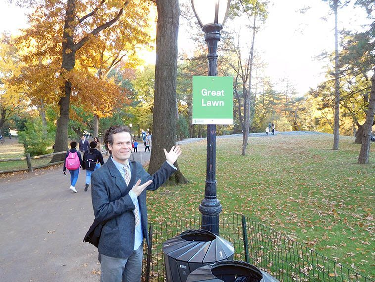 Nick Lyons in Central Park en route to the Met to see Max Beckmann exhibit -- May 18, 2o16 -- photo by Mark Weber