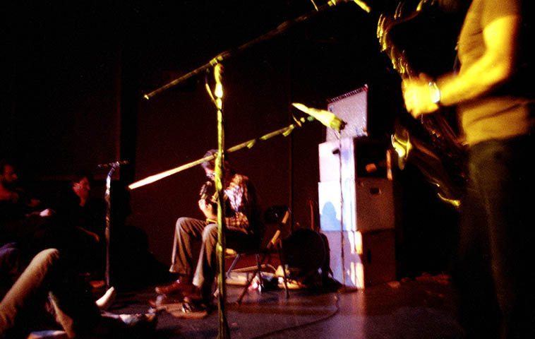 Derek Bailey and Evan Parker in Los Angeles at Century City Playhouse -- probably the only time Derek ever played L.A. -- October 15, 1980 -- photo by Mark Weber