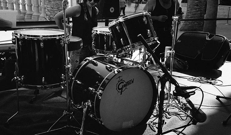 Tina Raymond's drum kit (and Tina) -- August 14, 2o15 at Los Angeles County Museum of Art (Angelinos just call it: LACMA) ----- photo by Mark Weber