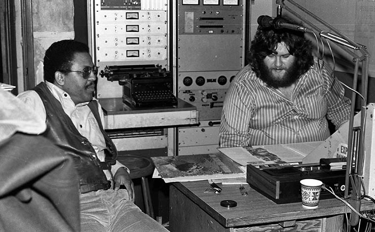 Bobby Bradford on John Breckow's Friday night jazz radio show on KPFK Los Angeles -- January 14, 1977 -- photo by Mark Weber -- You can see that they have Bobby's albums on Flying Dutchman on the desk -- Bobby will be on the Thursday jazz show at KUNM Albuquerque March 30th and hopefully some of his quartet also, who will be unpacking their gear at the Outpost Performance Space that same evening