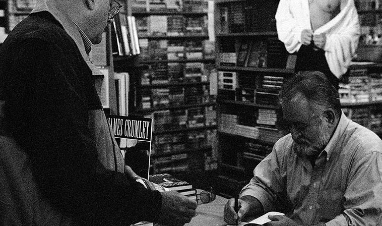 That's Todd Moore and James Crumley at a book signing in Albuquerque October 19, 1993 -- photo by Mark Weber ----- We went to pay our respects to this great author of hardboiled crime fiction set in the West with masterpieces THE WRONG CASE (1975), DANCING BEAR (1983), THE LAST GOOD KISS (1978) that opens with a couple drunks at a bar along with an alcoholic bulldog who is working out a hangover with a bowl of beer ---- I don't recommend his first novel (ONE TO COUNT CADENCE) but after that you owe it to yourself to read these from one of the best ----- He didn't write many books (he was a hard boozer) and I dropped off when his 1993 novel MEXICAN TREE DUCK opened with a recovering alcoholic returning to the bottle and being glad of it, too sad . . . . .