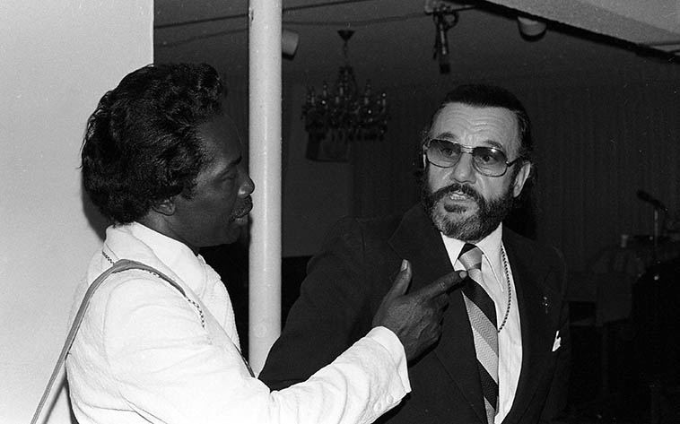 Delmar Evans and Johnny Otis -- October 14, 1979 -- photo by Mark Weber -- (Delmar aka Mighty Mouth) ----Johnny Otis had the hippest radio show on the planet every Saturday afternoon on KPFK in the 80s always LIVE and with guests --------- There's something electric about live guests, over the telephone or visiting in the studio that can't be matched with pre-recorded edited canned and drained of the blood of being in the moment visiting with a fellow human over the airwaves