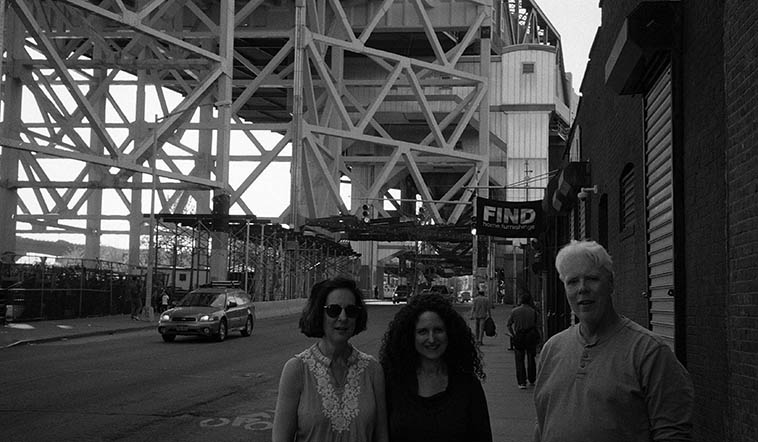 Eva Lindal, Carol Liebowitz, & Bill Payne at Gowanus Canal 9th Street Bridge, Brooklyn -- May 7, 2o15 -- photo by Mark Weber