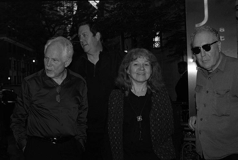 Lena Bloch Quartet outside Kitano Hotel at 66 Park Avenue, Manhattan -- May 7, 2o15 -- Cameron Brown (bass), Russ Lossing (piano), Lena (tenor), Billy Mintz (shades) -- photo by Mark Weber -- These guys were so patient as I had to reload my camera with Tri-X (film) to get these shots ---- Lena was a student of Connie Crothers
