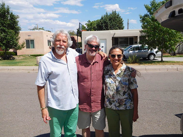 MW + Ken Filiano + Janet Simon out front of our digs (Studio 725) in Albuquerque -- photo by Andrea Wolper with my piece of junk digital camera I'm going to toss very soon if it doesn't start acting better ---- July 3, 2o17 ---- Ken & Andrea have 4 or 5 gigs to do and then they're going to chill in Taos for a few days soaking up the silence (it is so quiet there) ----- They flew in from NYC the day before ----- (Ken and I were in Connie Crothers' band together, among other aggregations we've mixed it up over the years; and Andrea is a singer of the angel province)