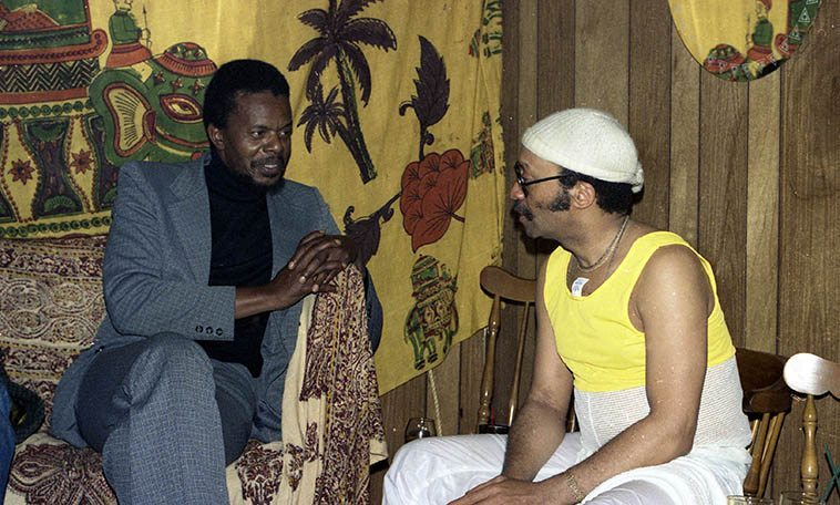 East meets West: Two piano players: Horace Tapscott and Cecil Taylor backstage at The Lighthouse, Hermosa Beach, California -- June 7, 1979 -- photo by Mark Weber