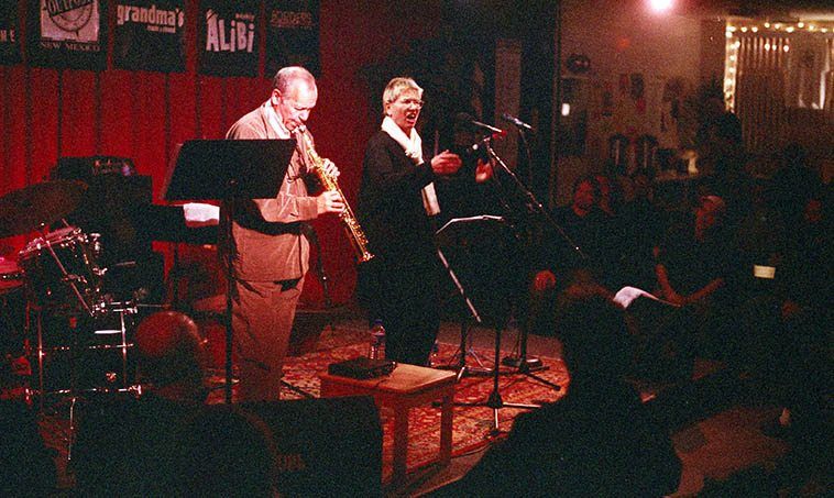 You can't have a show about the science & art of soprano saxophone without talking about the guy who spent his entire life studying this complex and difficult instrument: STEVE LACY ---- photo of Steve Lacy & Irene Aebi at Outpost Performance Space -- March 20, 2000 by Mark Weber