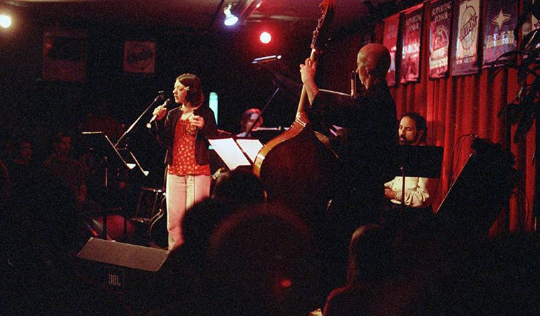 Gretchen Parlato with her dad's band in Albuquerque: Bob Fox (piano), John Trentacosta (drums), David Parlato (bass), Michael Anthony (guitar) -- April 6, 1998 -- photo by Mark Weber