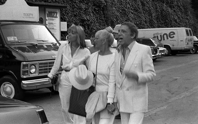 """Buddy Rich arrives at Playboy Jazz Festival, Hollywood Bowl -- June 21, 1980 -- photo by Mark Weber ---- One of my favorite Buddy Rich stories comes from David Parlato, who, along around 1968 he got the call to sub one weekend with Buddy's band at the Carousel in Covina, California (remember that place you Angelenos?) (it was right off the San Bernardino Freeway) Anyway, David's all set up with his bass next to the drumkit and they're about ready to hit and Buddy comes out, and sits down at the drums and says to David, """"Don't keep it a secret, kid."""""""