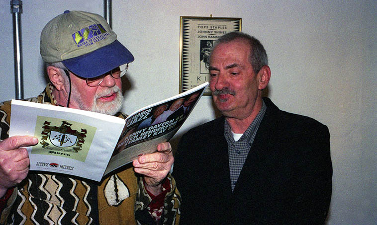 Two old buddies from the Village days of the 50s backstage at the Outpost Performance Space -- Roswell Rudd and Kenny Davern -- March 28, 2004 -- photo by Mark Weber ---- You can hear KD on Roswell's cd BLOWN BONE (Emanem 4131)(1976) along with Sheila Jordan, Steve Lacy, and a gang of others