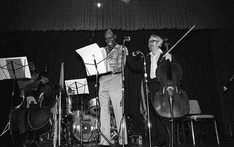 Buddy Collette - Fred Katz Quintet ---- May 9, 1981 @ L.A. Press Club, 600 N. Vermont ---- w/ Llew Matthews(paino), Paul Humphrey(drums), Nathan East(bass) -- photo by Mark Weber