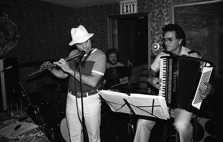 Ray Pizzi (flute), Frank Marocco (accordion), Jeff Hamilton (drums) @ Dino's Italian Inn, 2055 E. Colorado Blvd, Pasadena, California -- April 30, 1981 -- photo by Mark Weber ---- Back in those days around L.A. we used to call Ray > The Pizza Man