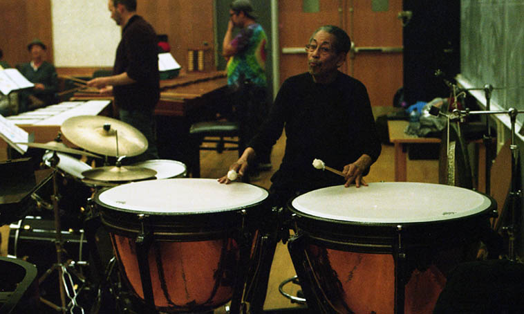 "Warren Smith master percussionist -- one of the central players behind Max Roach's drum band M'BOOM ---- Today we'll revisit his tympani solo on ""Epistrophy"" from M'BOOM's first album (1979) ---- photo from Joseph Daley Trio clinic at University of New Mexico -- March 27, 2o18 -- photo by Mark Weber"