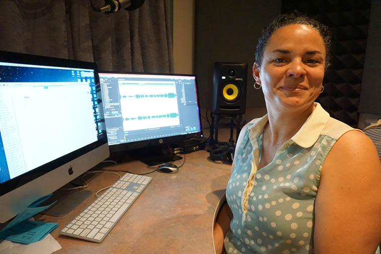 Tanya Cole in Studio D (we have 4 production studios) where she creates many of the advertising spots you hear on KUNM ---- I think she is now the late afternoon/early evening race horse that takes care of News & All Things Considered (that's a very busy two hours, you have to be cooking on all cylinders, or, to keep my metaphors a little more parallel: You have break from the gate at a full gallop) ---- photo by Mark Weber