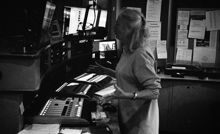 Peggy Hessing cares so much about the listener that she puts me to shame ---- She spends hours and hours looking and listening to everything under the sun searching for things she wants you to hear, investigating all manner of expressions: meaningfulness is what she's after, her concern is boundless ----- Peggy on the air March 12, 2o18 Friday Afternoon Free Form – photo by Mark Weber