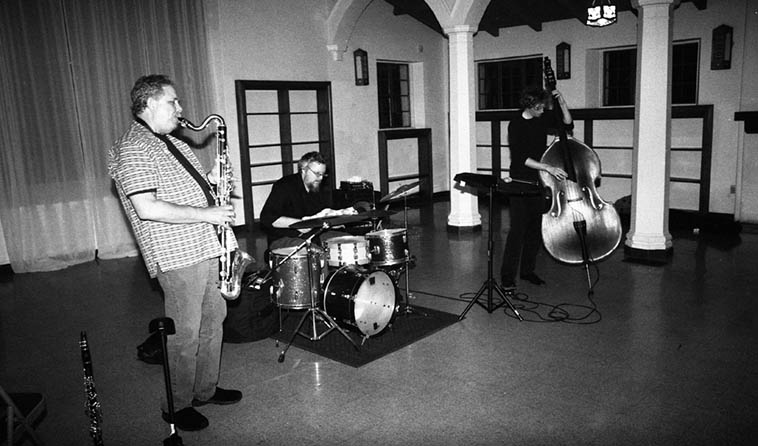 Peter Kuhn Trio at Open Gate, Glendale, California (Los Angeles) on double bill with my band – February 4, 2o18 – Peter(bass clarinet), Kyle Motl(bass – student of Mark Dresser down in San Diego, and a great bass player in his own right), Nathan Hubbard(drumset) – photo by Mark Weber