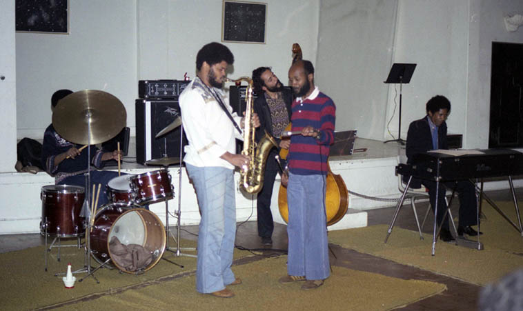 That's trumpeter Richard Davis holding mike on Azar Lawrence at John Carter's Ibedon Festival, May 20-21, 1977 Los Angeles w/ Freddie Redd(piano), and Roberto Miranda(bass) ---- photo by Mark Weber ---- We'll dip some more into Azar's latest cd FRONTIERS on this radio show