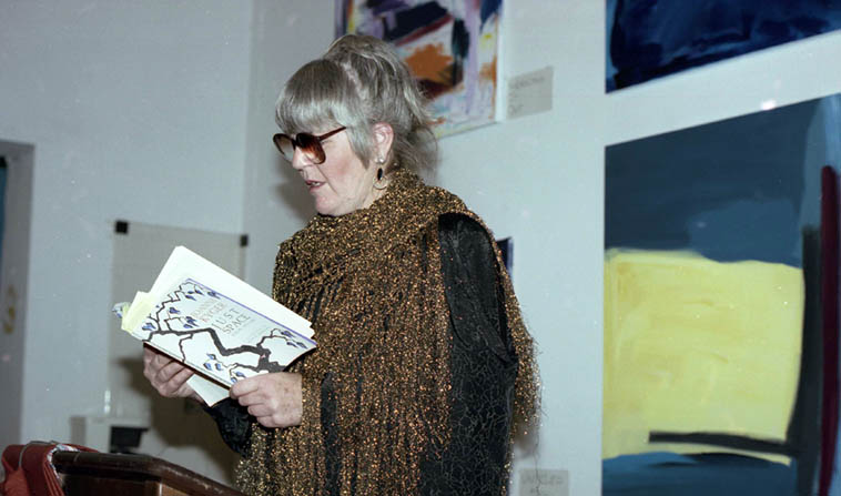 """Joanne Kyger, the American poet who never jumped outside the immediate moment, visiting us in New Mexico at Salt of the Earth Books, Albuquerque – January 11, 1992 ------ """"I am not going to be intimidated/by myself/Outflanked by, upstaged by/this former self of yesterday/which left a pretentious array/of books to read, sources to pull/the western mind into shape"""" p.63 of her collection AGAIN (La Alameda Press, 2001) and this gem from page 43: """"When people say they love me I tell them/Give me a loaf of bread ---- I loaf you"""" ---- photo by Mark Weber"""