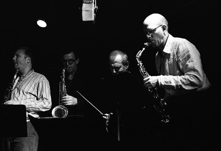 Saxophone section Instant Composer's Pool: Toby Delius, Ab Baars, Kenny Davern, Michael Moore – March 23, 2006 Albuquerque at Outpost Performance Space ---- photo by Mark Weber