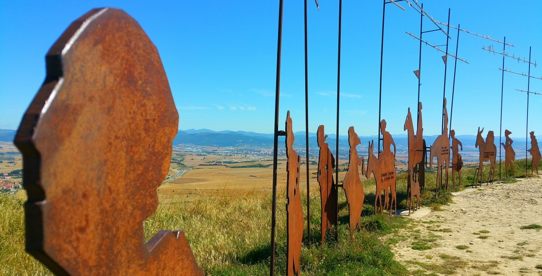Day 4- Alto del Perdon, looking back at Pamplona and Pyrenees beyond