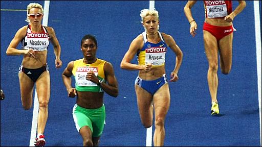 Caster Semenya winning the 800m Gold Medal in Berlin